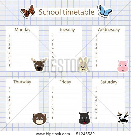 school timetable with stickers of animals on the background of notebook sheet in a cage