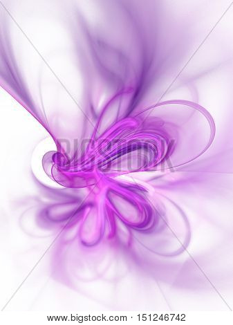 Fractal smoke. Abstract blurred pink and purple swirl on white background. Fantasy design for posters greeting cards or t-shirts. Digital art. 3D rendering.