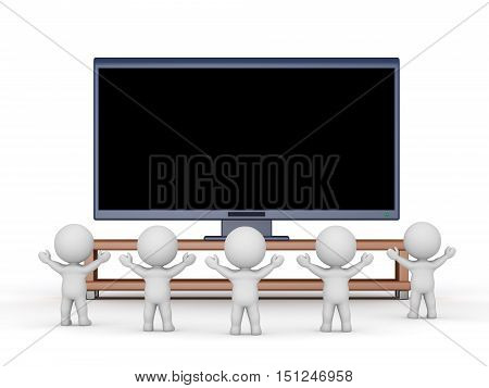 Several 3D characters cheering and watching a large HDTV. Isolated on white background.