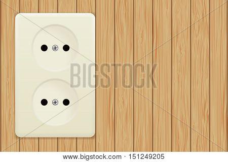 Electric socket on wooden background. Vector illustration