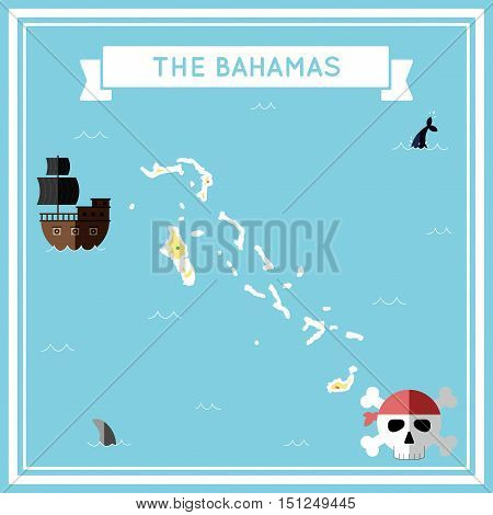 Flat Treasure Map Of Bahamas. Colorful Cartoon With Icons Of Ship, Jolly Roger, Treasure Chest And B