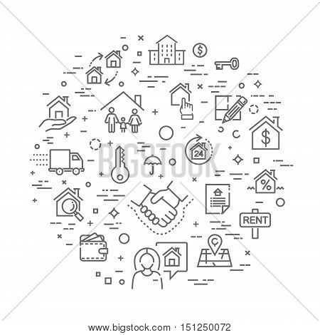 Outline web icons set - Real Estate. Immovables