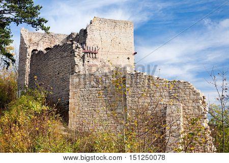 castle ruin Lobdeburg - historic building at fall, germany