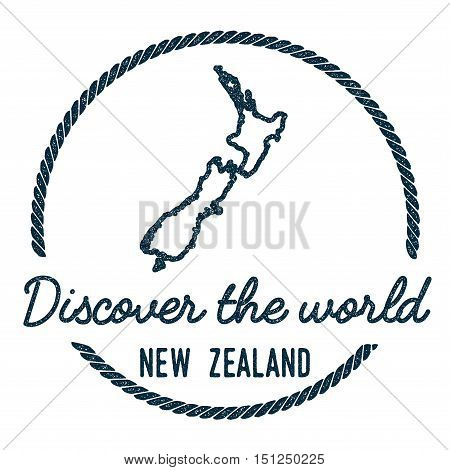 New Zealand Map Outline. Vintage Discover The World Rubber Stamp With New Zealand Map. Hipster Style