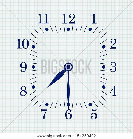 Clock face. Square shape. Seven thirty. Vector illustration