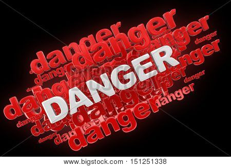 3D Illustartion. Word danger. Image with clipping path