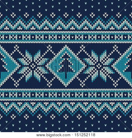 Winter Holiday Fair Isle Knitted Pattern with Snowflakes and Christmas Tree