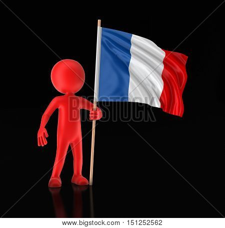 3D Illustartion. Man and French flag. Image with clipping path