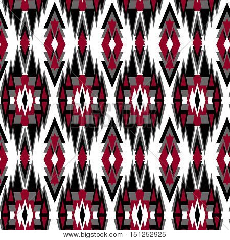 Navajo tribal style seamless pattern of colored triangles. Ethnic ornament North American Indians, aztec fancy abstract geometric art print. ethnic hipster backdrop.
