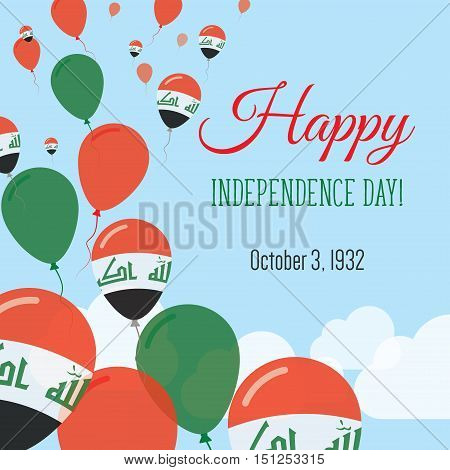 Independence Day Flat Greeting Card. Iraq Independence Day. Iraqi Flag Balloons Patriotic Poster. Ha