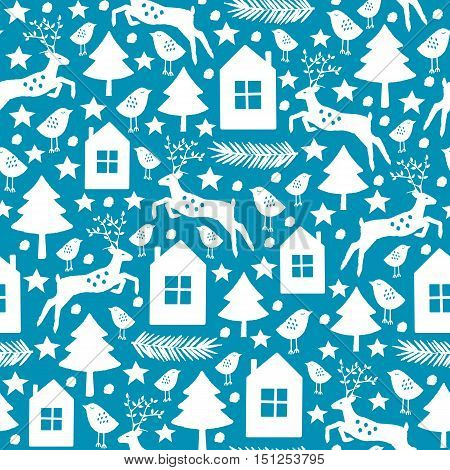 Christmas and New Year seamless pattern. Vector illustration.