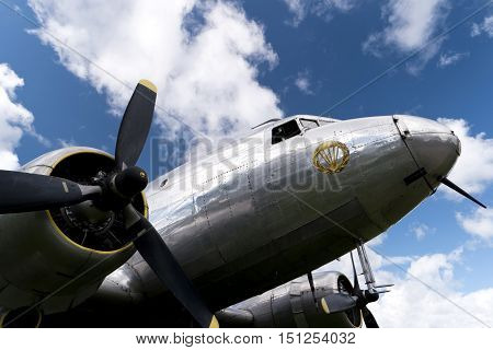 Karlsborg, Sweden - August 14, 2016: Historical Aircraft Douglas Dc-3, One Of The Most Significant T