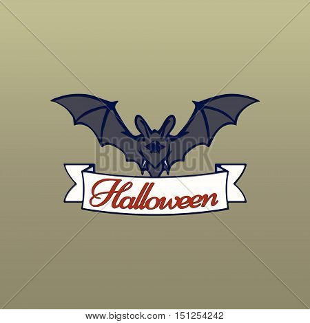 Bats with red eyes. Vector illustration of bat and a white ribbon with Halloween red text. Halloween banner with place for your text or pictures.