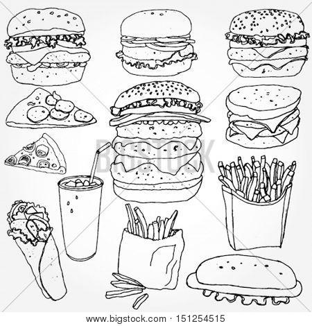 Some Doodled Fast Food Elements
