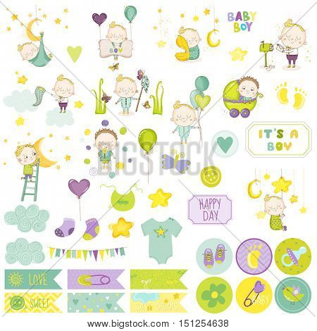 Baby Boy Scrapbook Set. Vector Scrapbooking. Decorative Elements. Baby Tags, Labels, Stickers.