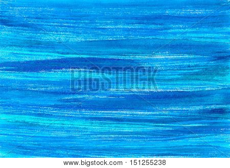 Blue sea watercolor background. Hand painted watercolour blue sky. Abstract banner. Ink spreading. Streaks, water, aqua, waves, stains, texture. Fill with rough, uneven edges.