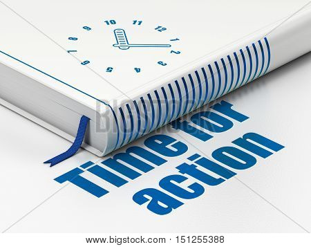 Time concept: closed book with Blue Clock icon and text Time For Action on floor, white background, 3D rendering