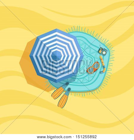 Snorkeling Equipment, Camera And Umbrella Spot On The Beach Composition. Place On The Sand With Vacation Attributes From Above Bright Color Vector Illustration.