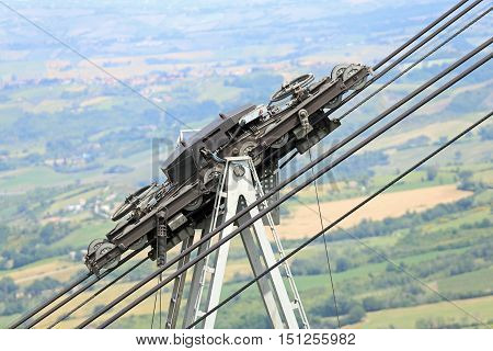 Steel Cables And Pulley Of The Cableway In The Mountains