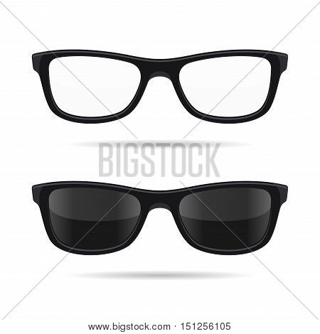 Hipster Glasses Set. Transparent and Sunglasses Model Icons. Vector illustration