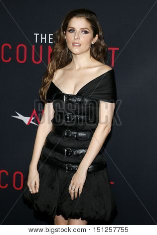 Anna Kendrick at the Los Angeles premiere of 'The Accountant' held at the TCL Chinese Theater in Hollywood, USA on October 10, 2016.