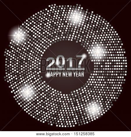 New Year 2017 celebration background. Happy New Year silver type on black background with silver disco lights frame. Greeting card template. Vector illustration.