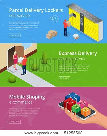 Web banners. Isometric Parcel Delivery Lockers. Self-service. Express Delivery. This service provides an alternative to home delivery for online purchases.