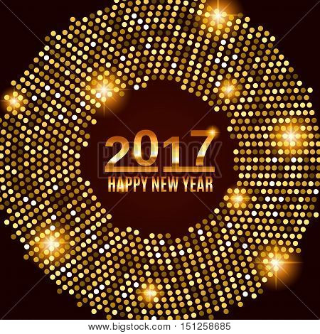 New Year 2017 celebration background. Happy New Year gold type on black background with gold disco lights frame. Greeting card template. Vector illustration.