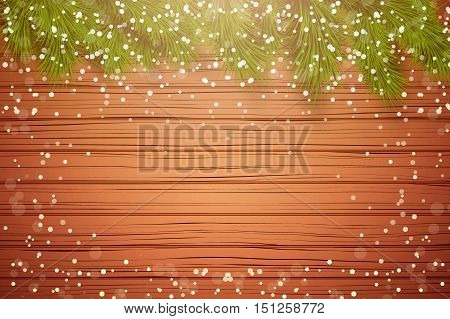 Christmas wooden background with spruce fir tree with space for text and snow border. Top view. Winter Holiday xmas mockup and backdrop. Vector Illustration.