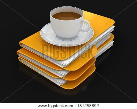 3D Illustartion. Folder and files with cup of coffee. Image with clipping path