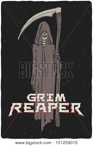Grim reaper hand drawn vector grunge illustration