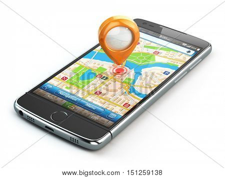 Mobile GPS navigation travel concept. Smartphone with pin on city map isolaed on white background. 3d illustration
