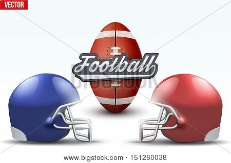 American Football Symbol. Football ball and helmets isolated on white background. Vector Illustration.
