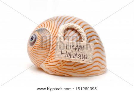 Sea snail with lettering Happy holidays isolated on white