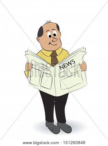 cartoon bald boss reading news paper isolated