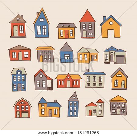 Hand drawn house cartoon architecture vector set