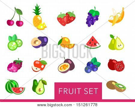 Big fruit flat vector set. Fruit icons