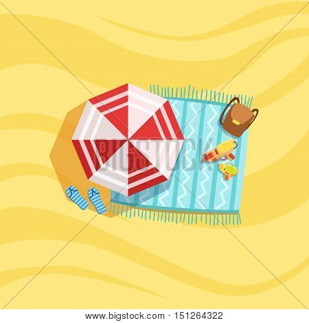 Backpack , Water Guns And Umbrella Spot On The Beach Composition. Place On The Sand With Vacation Attributes From Above Bright Color Vector Illustration.