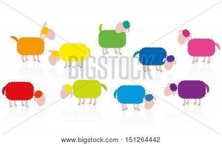 Colored sheep flock cartoon - illustration on white background.