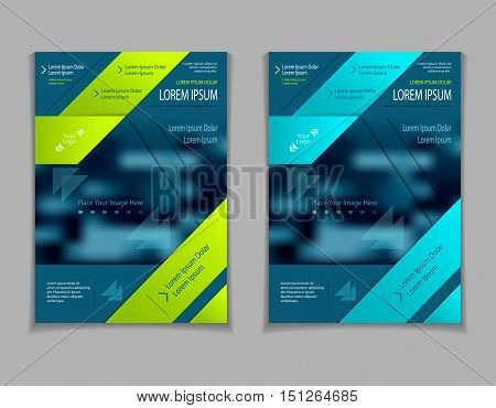 Set template of flyers or brochures or book or  magazines  covers with blur image and  cut paper effect on  dark blue marine background