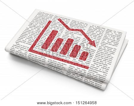 News concept: Pixelated red Decline Graph icon on Newspaper background, 3D rendering