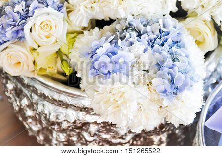 bouquet of Carnation Hydrangea and carnation flower in blur background