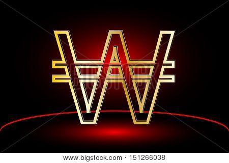 Korean won icon , won vector , Currency symbol vector illustration