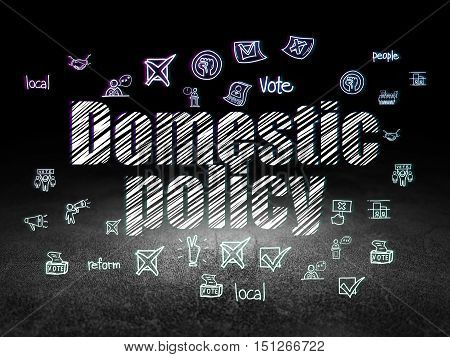 Politics concept: Glowing text Domestic Policy,  Hand Drawn Politics Icons in grunge dark room with Dirty Floor, black background