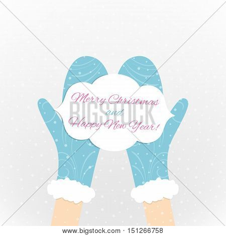 Christmas and New Year image. Greeting card in the hands. Vector illustration.