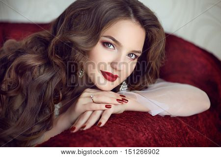 Beautiful Brunette Bride Woman. Wedding Makeup. Red Manicured Nails. Attractive Young Girl Model Wit