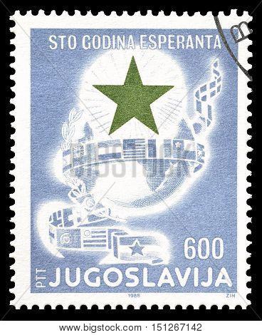 YUGOSLAVIA - CIRCA 1988 : Cancelled postage stamp printed by Yugoslavia, that promotes Esperanto.