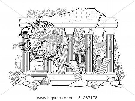 Graphic aquarium fish with architectural sculpture drawn in line art style. Under water scenery isolated on the white background. Coloring book page design for adults and kids.