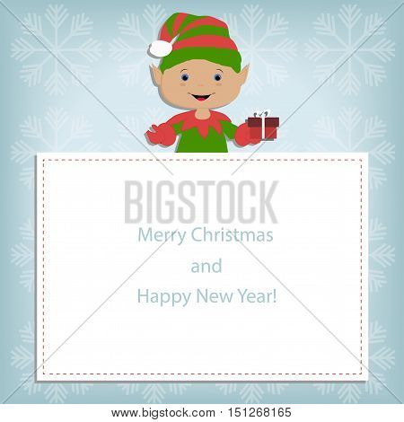 Baby Christmas frame on blue background with snowflakes with the elf upstairs. template postcard greeting. new year vector illustration