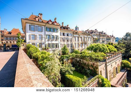 Beautiful green terraces near Munster church in the old town of Bern in Switzerland